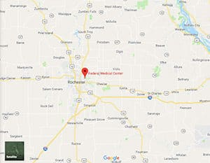 A Google Maps image of FMC Rochester federal prison in Minnesota